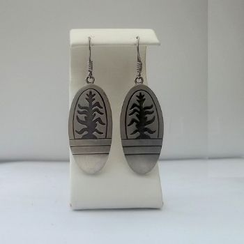 Hopi Style etched Plant Motif Earrings